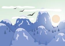 Montañas con el casquete glaciar Las pieles del sol detrás de las montañas libre illustration