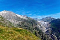 Montañas con el glaciar Fotos de archivo
