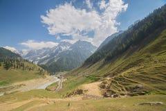 Montañas con los prados rodeados Fotos de archivo libres de regalías