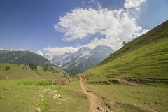 Montañas con los prados rodeados Imagenes de archivo