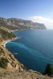 Montañas de Crimea que sumergen en el Mar Negro Fotos de archivo libres de regalías