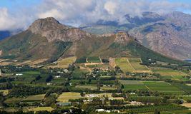 Montañas de Franschhoek Imagenes de archivo