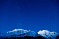 Montañas de Gangapurna y de Annapurna Imágenes de archivo libres de regalías
