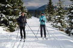 MONTAÑAS DE JIZERA, REPÚBLICA CHECA, FEBRERO DE 2017: El par es esquí de fondo en las montañas de Jizera Fotografía de archivo