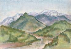 Montañas de la nieve stock de ilustración