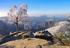 Montañas de la piedra arenisca de Elba en el invierno, Carolarock Fotografía de archivo