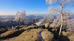 Montañas de la piedra arenisca de Elba en el invierno, Carolarock Foto de archivo libre de regalías
