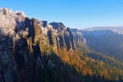 Montañas de la piedra arenisca de Elba en el invierno, Winterberg Foto de archivo libre de regalías