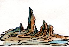 Montañas de la pintura de la acuarela Foto de archivo libre de regalías