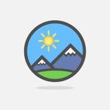 Montañas de las montañas suizas en emblema redondo colorido ilustración del vector