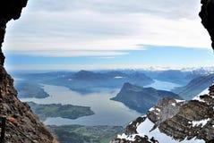 Montañas de Suiza, visión desde Pilatus superior Foto de archivo libre de regalías