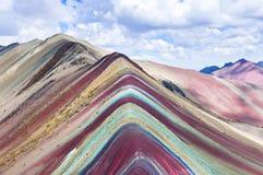 Montañas del arco iris, Cusco, Perú Vinicunca, 5200 m en los Andes, Cordillera de los Andes, región de Cusco en Suramérica foto de archivo