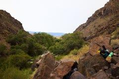Montañas del barranco de Charyn Imagenes de archivo