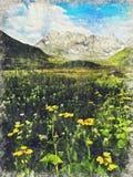 Montañas del Cáucaso cerca de Roshka Macizo de Chaukhi y la de Abudelauri ilustración del vector