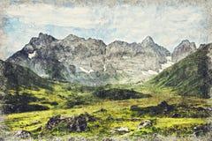 Montañas del Cáucaso cerca de Roshka Macizo de Chaukhi y lagos Abudelauri Khevsureti, Georgia Digitaces Art Impasto Oil Painting stock de ilustración