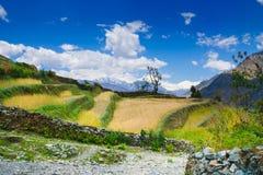 Montañas del circuito de Annapurna, rastros que emigran populares en Nepal imagen de archivo libre de regalías