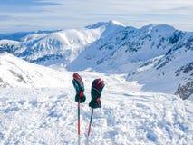 Montañas del invierno y guantes del esquí en polos de esquí en primero plano Foto de archivo