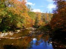 Montañas del norte de Carolina Appalachian en caída con el río Foto de archivo