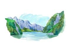 Montañas del paisaje del verano y ejemplo naturales de la acuarela del lago stock de ilustración