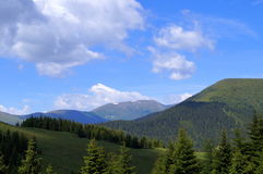 Montañas del verde azul Fotos de archivo