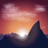 Montañas del witn del fondo de la puesta del sol ilustración del vector
