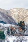 Montañas deshojadas del árbol en invierno en Japón Fotografía de archivo libre de regalías