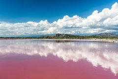 Montañas detrás del lago de sal rosado del agua en la República Dominicana fotografía de archivo