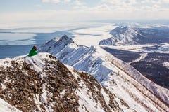 Montañas e invierno de Sajalín Fotografía de archivo libre de regalías