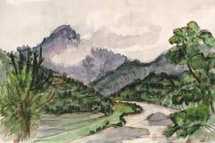 Montañas en el acuerdo stock de ilustración