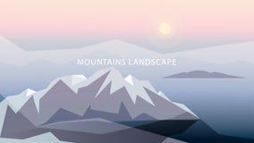 Montañas en el ejemplo apacible de los tonos Montañas, sol, océano, nubes, en colores grises, azules y rosados libre illustration