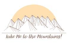 Montañas en el fondo del sol Imágenes de archivo libres de regalías