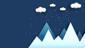Monta?as en el invierno - animaci?n descendente de la nieve Estilo moderno y plano Monta?as azules, nubes blancas arriba, copos d libre illustration