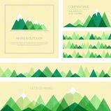 Montañas en estilo geométrico Sistema de plantillas al aire libre elegantes de la tarjeta Imagen de archivo