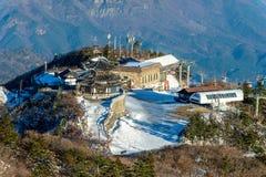 Montañas en invierno, Corea de Deogyusan fotografía de archivo