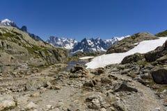 Montañas en junio Vista del macizo de Mont Blanc fotos de archivo