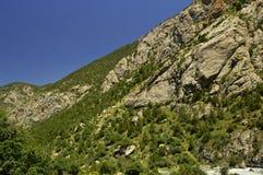 Montañas en la garganta de Galuyan, Kirguistán Fotografía de archivo