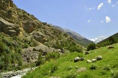 Montañas en la garganta de Galuyan, Kirguistán Imagenes de archivo
