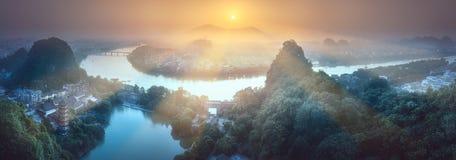 Montañas Guilin, Yangshuo de Li River y del karst Imagenes de archivo