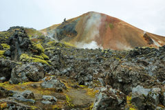 Montañas multicoloras en Landmannalaugar, Foto de archivo