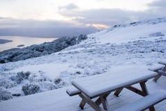 Montañas nevadas en la pista de Kepler, Foto de archivo libre de regalías
