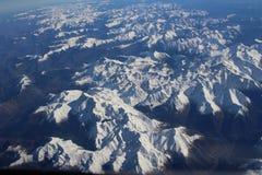 Montañas Nevado a partir de 43000 pies Fotos de archivo libres de regalías