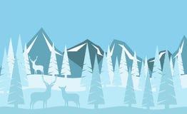 Montañas Nevado y bosque del invierno con estilo plano de la familia de los ciervos ilustración del vector
