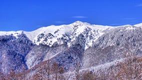 Montañas Nevado y cielo azul Foto de archivo