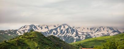 Montañas por completo de la hierba verde y de los árboles y detrás de ellos, montañas por completo de la nieve con las nubes pesa Foto de archivo