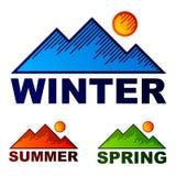 Montañas rayadas del resorte del verano del invierno Imagen de archivo libre de regalías