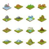 Montañas, rocas, faro, volcán y otros alivios de la tierra Las montañas y los paisajes fijaron iconos de la colección en historie ilustración del vector