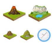 Montañas, rocas y paisaje El alivio y las montañas fijaron iconos de la colección en la acción isométrica del símbolo del vector  Foto de archivo