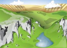 Montañas rocosas con el lago Imagen de archivo libre de regalías