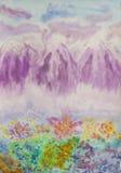 Montañas rosadas, pintando Foto de archivo libre de regalías