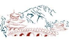 Montañas, templo del este Foto de archivo libre de regalías